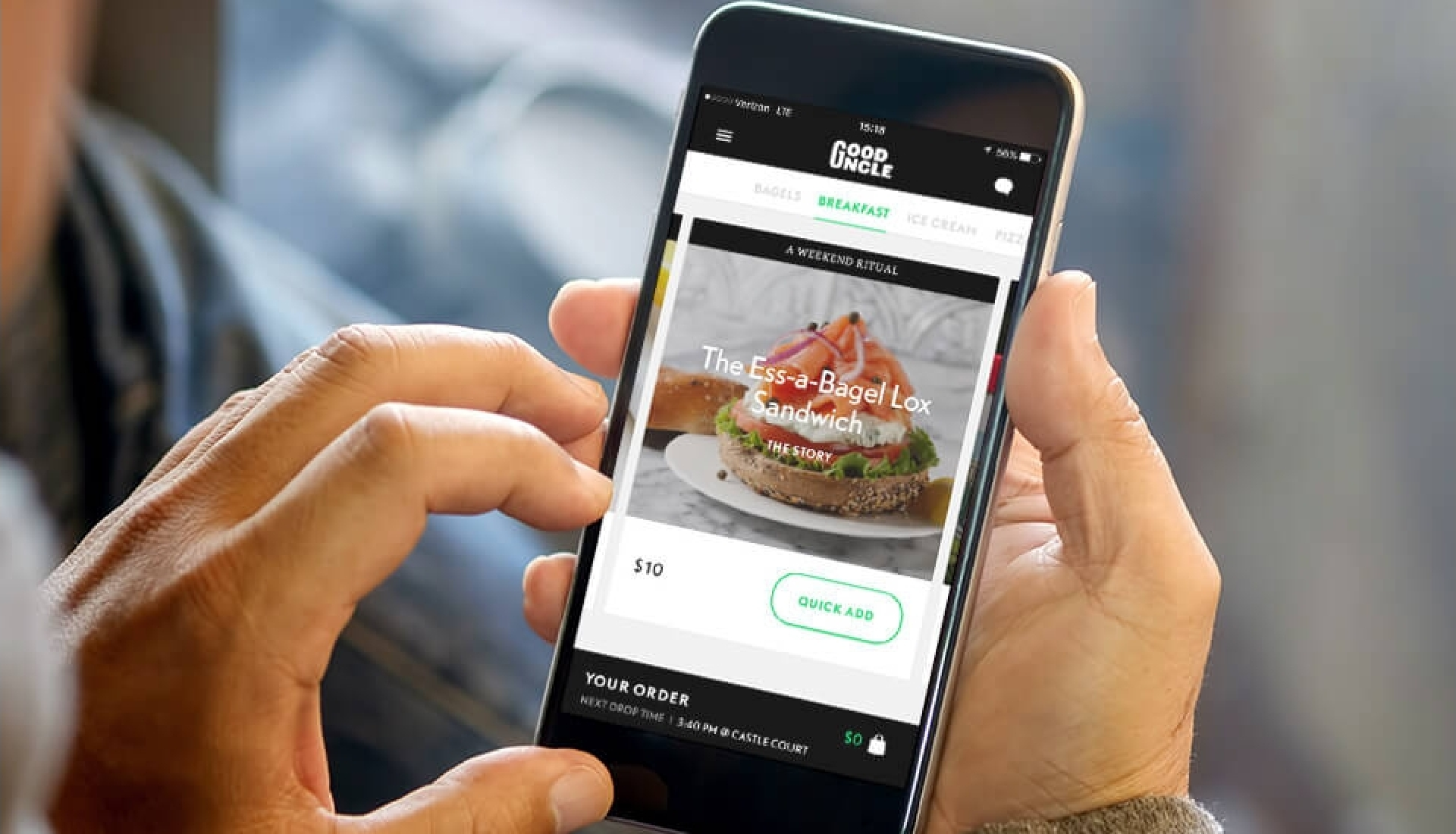 Person placing order on Good Uncle mobile app